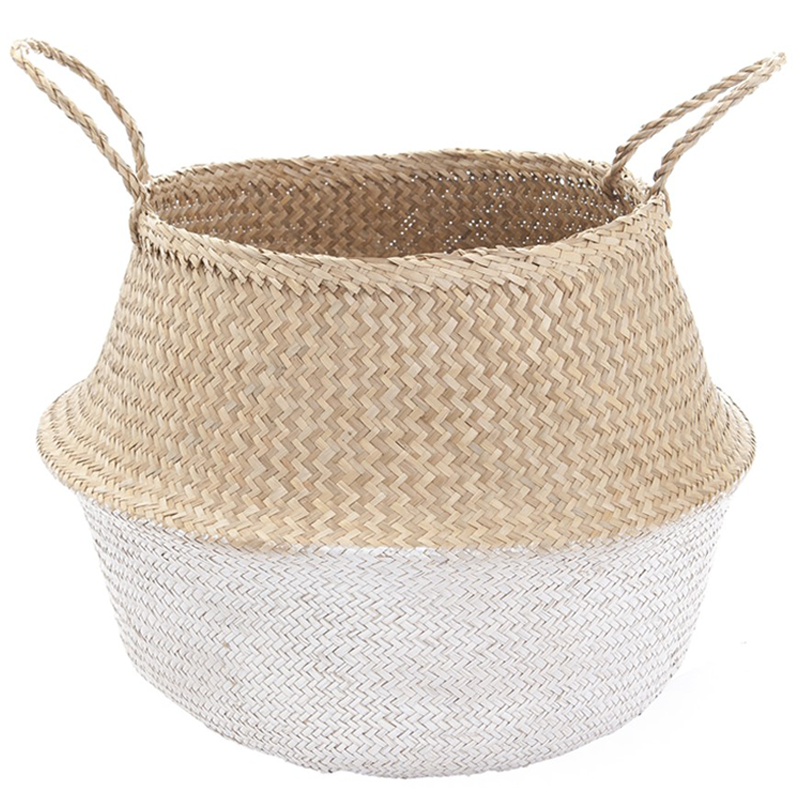 LARGE SEAGRASS BELLY BASKET WHITE