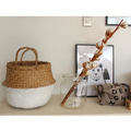 SMALL SEAGRASS BELLY BASKET WHITE