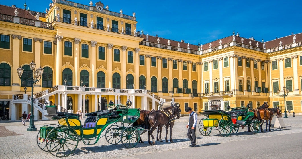 Horse carriage in front of Schoenbrunn Palace, Vienna.