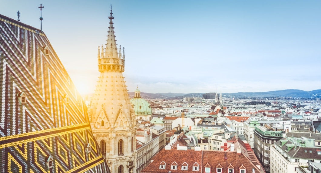 Panorama of Vienna on the rooftop.