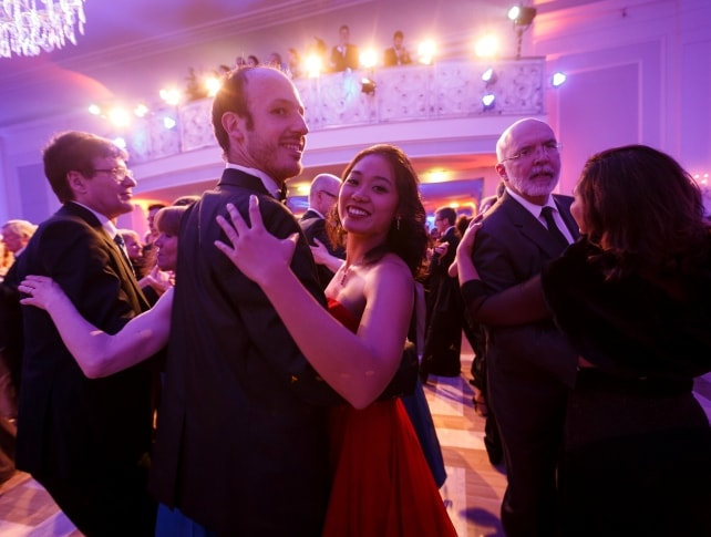 Guests dancing waltz at Johann Strauss Ball