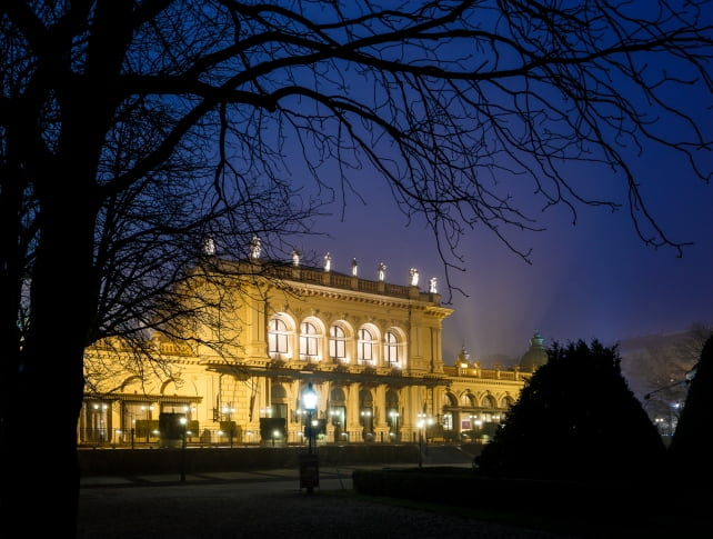 Night picture of Kursalon Vienna, Stadtpark, Christmas Concerts