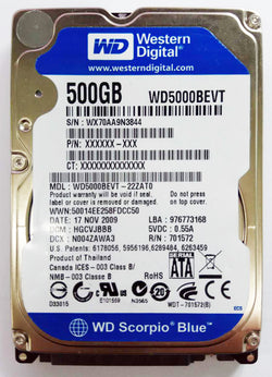 WD notebook 500gb 2.5 SATA