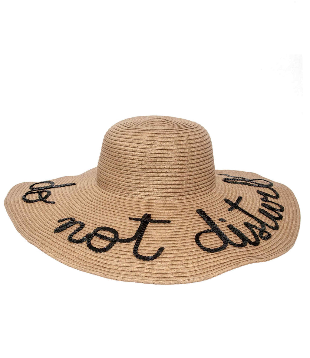 Custom Wide Brim Sequin Message Floppy Sun Hat