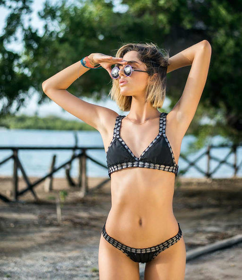 Ready-To-Ship Crochet Trim Reversible Bikini Set