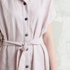 Dusty rose linen dress with black buttons