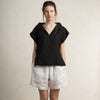 Black linen woman's top by LHI