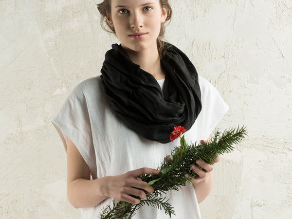 Soft black linen scarf