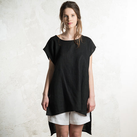 LHI black linen tank top