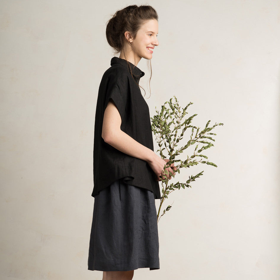Black linen shirt for women