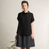LHI black linen shirt with short sleeves