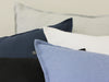 Blue black white linen decorative pillows