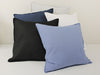 Blue black and white linen pillows