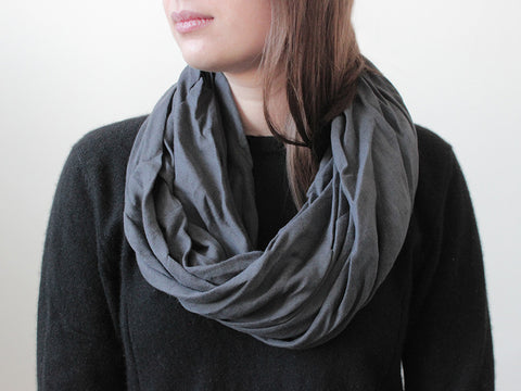 Charcoal linen infinity scarf by LHI