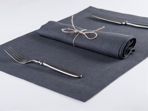 Charcoal linen napkin and placemat by lovely home idea