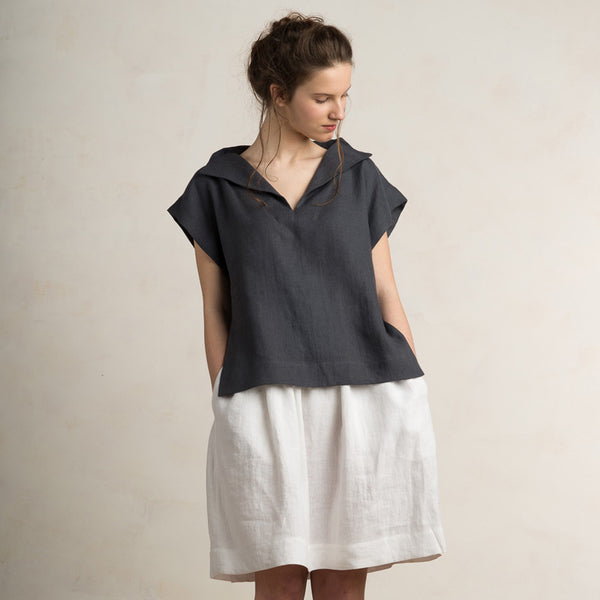 Charcoal linen womens blouse by LHI