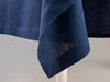Blue linen tablecloth with classic hem