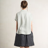 LHI dove grey linen shirt with short sleeves