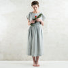 Dove grey linen skirt with elastic
