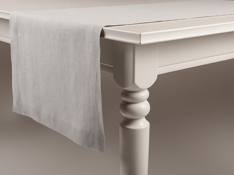 Dove grey linen table runner by Lovely Home Idea