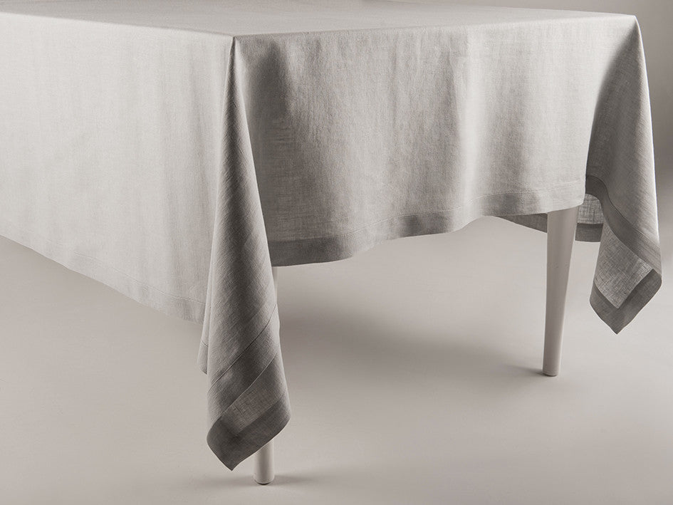 Dove grey linen tablecloth by Lovely Home Idea