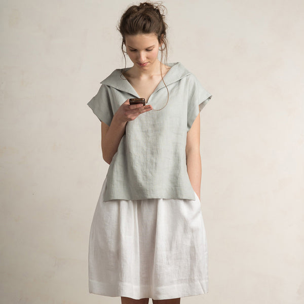 Dove grey linen top for woman