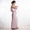 Long dusty rose linen dress