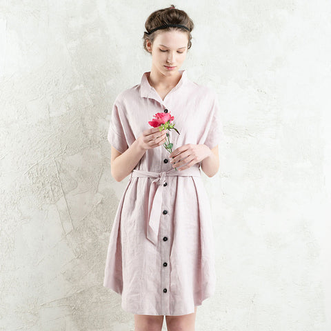 LHI loose fit short shirt dress in Dusty rose
