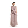 Long dusty rose linen dress with pockets