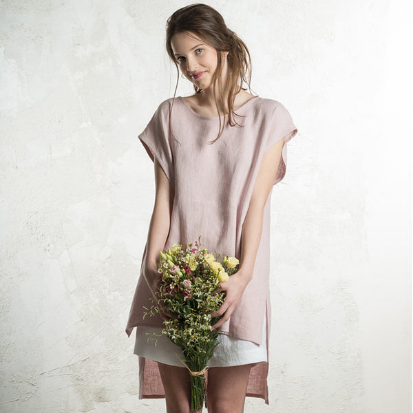 LHI dusty rose linen tunic for women