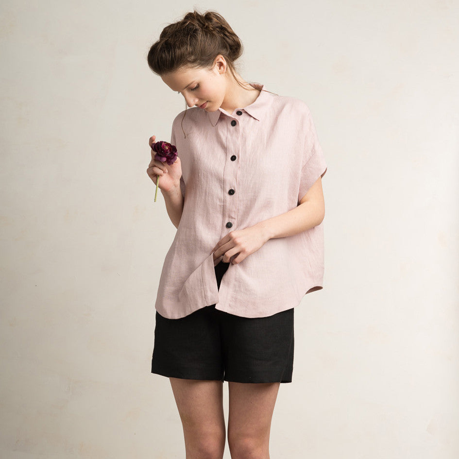 Dusty rose linen shirt for women by LHI