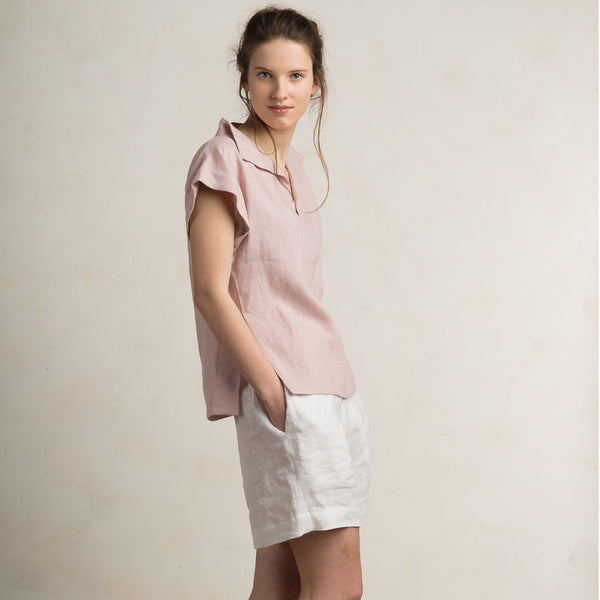 LHI dusty rose linen blouse for women