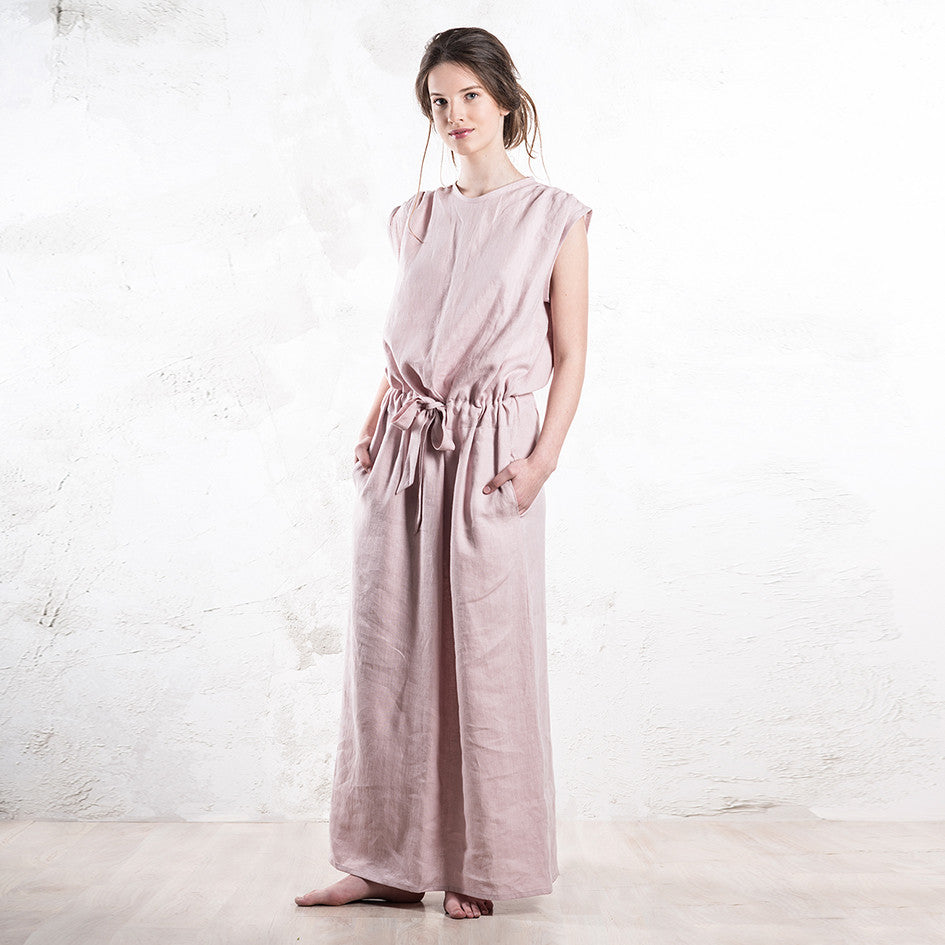 Long dusty rose linen dress by LHI