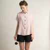 Dusty rose linen shirt with short sleeves