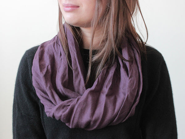 Linen infinity scarf Eggplant by LHI
