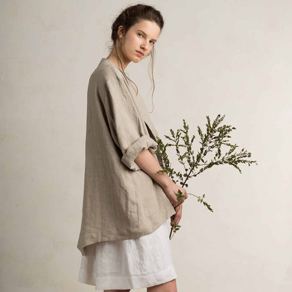 Loose fit linen jacket for women
