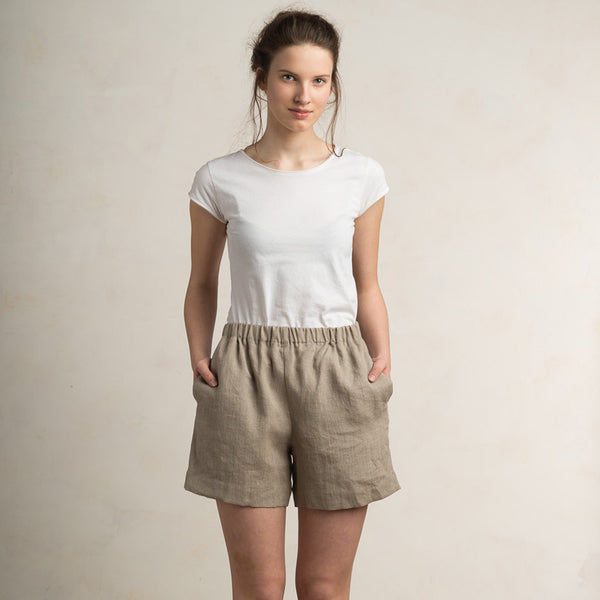 Flax grey linen shorts for women