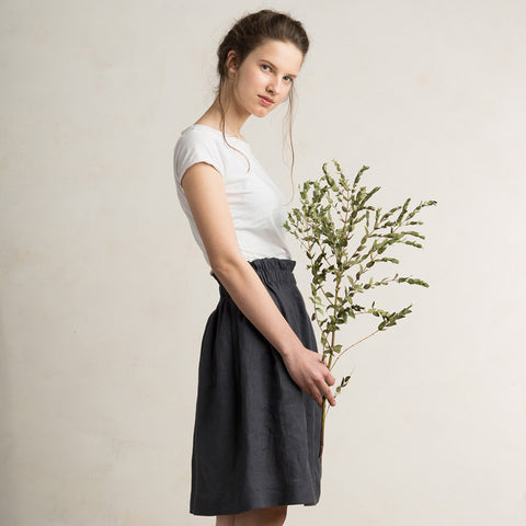 Charcoal linen skirt by LHI