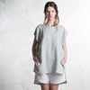 Dove grey linen tank top for women by LHI
