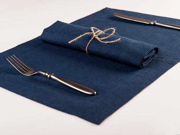 Indigo linen table napkin and placemat