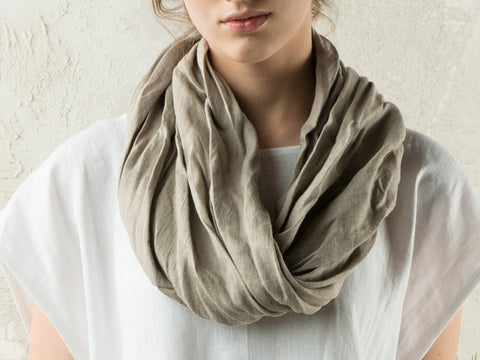 Linen infinity scarf by LHI in Flax grey color
