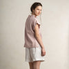 Dusty rose linen women's blouse