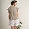 Short sleeve woman's tops in flax grey