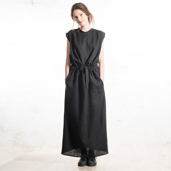 Black linen maxi dress with pockets