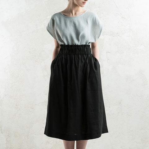Long black linen skirt