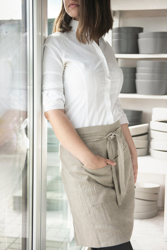 Lovely Home Idea linen waist apron