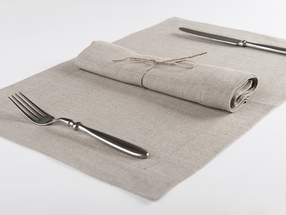 Flax grey linen table napkin and placemat by Lovely Home Idea