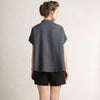 Dark grey linen shirt with short sleeves