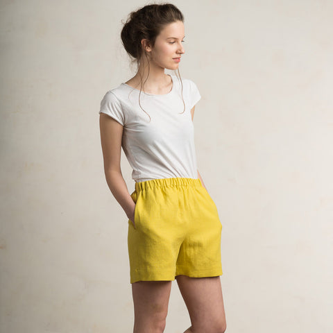 Mustard linen shorts for women