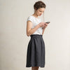 Knee length dark grey linen skirt